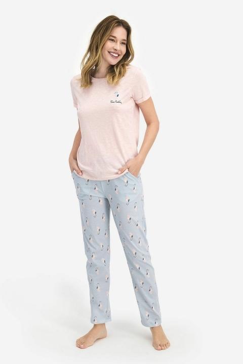 Pierre Cardin Seahorse Kadın Kısa Kol Pijama Takımı Buz Mavi PC7698