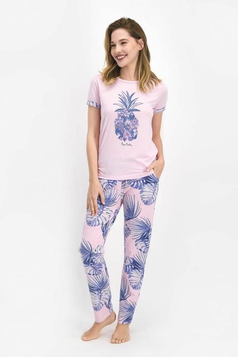 PİERRE CARDİN - Pierre Cardin Leafy Pineapple Kadın Büyük Beden Kısa Kol Pijama Takımı Toz Pembe PC7706