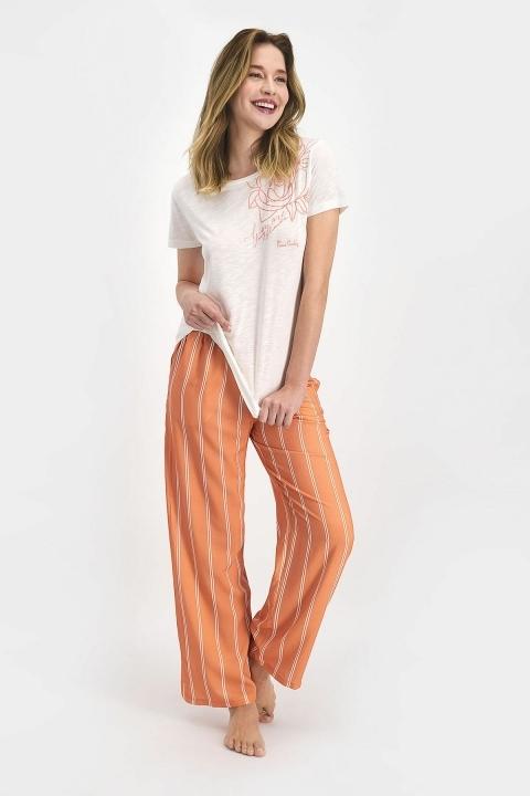 PİERRE CARDİN - Pierre Cardin Striped Kadın Kısa Kol Pijama Takımı Krem PC7714