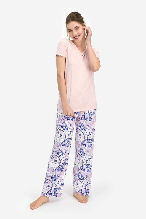 PİERRE CARDİN - Pierre Cardin Floral Pattern Kadın Kısa Kol Pijama Somon PC7742