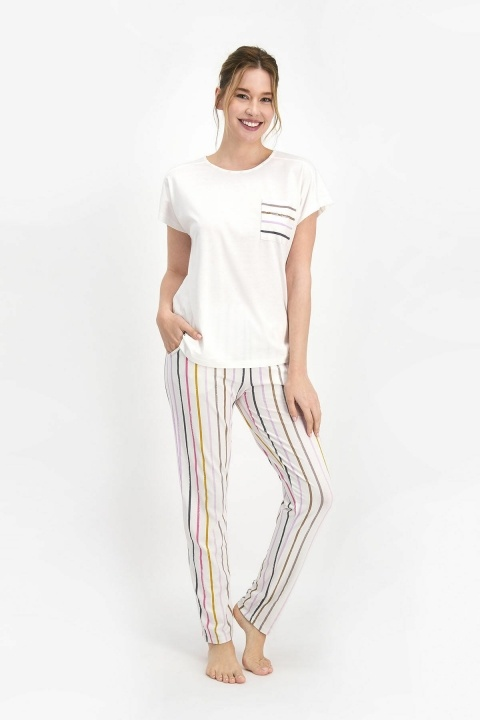 Pierre Cardin Striped Kadın Kısa Kol Pijama Takımı Krem PC7746 - Thumbnail