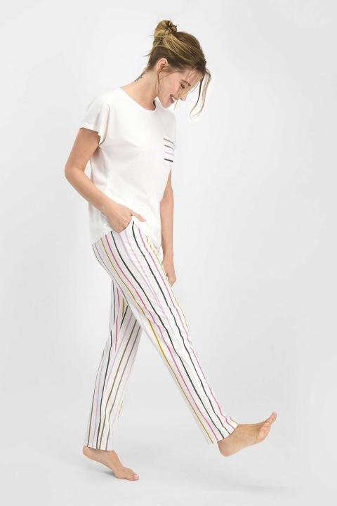 Pierre Cardin Striped Kadın Kısa Kol Pijama Takımı Krem PC7746