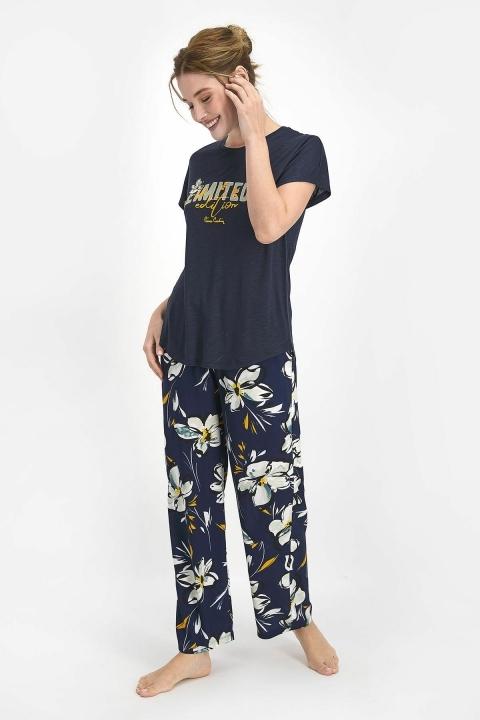 PİERRE CARDİN - Pierre Cardin Lily Kadın Kısa Kol Pijama Takımı Lacivert PC7750