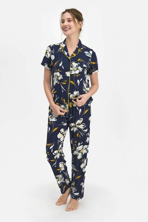 PİERRE CARDİN - Pierre Cardin Lily Kadın Gömlek Pijama Lacivert PC7753