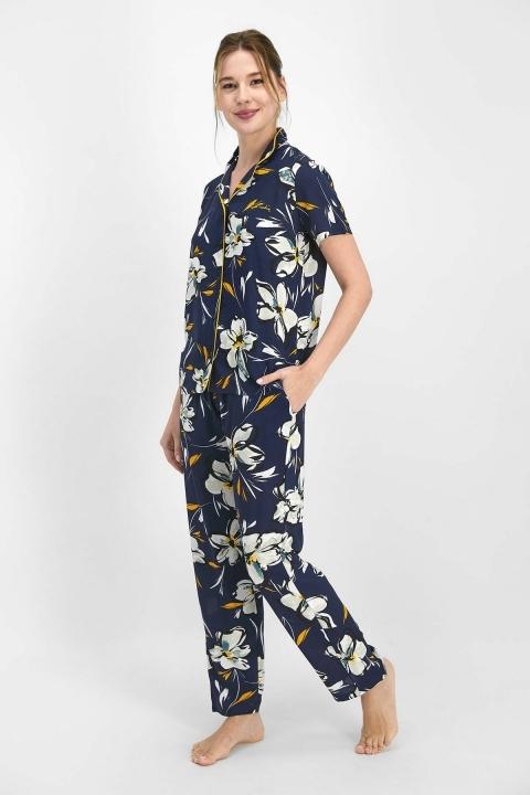 Pierre Cardin Lily Kadın Gömlek Pijama Lacivert PC7753