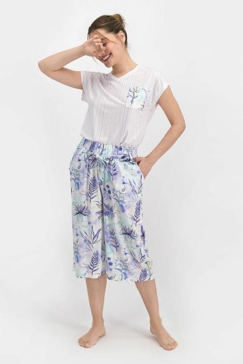 PİERRE CARDİN - Pierre Cardin Floral Pattern Kadın Kapri Takım Lila PC7755