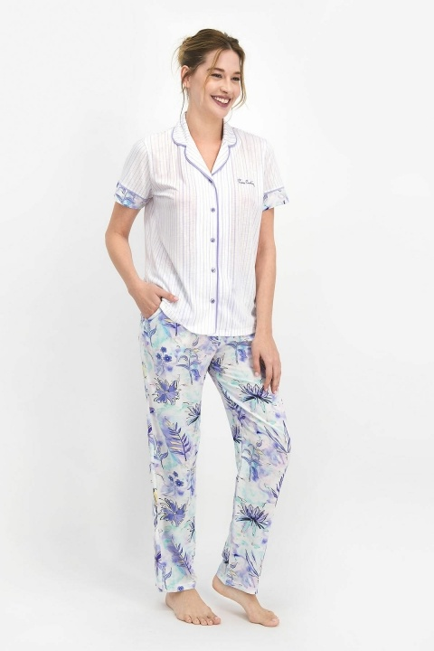 PİERRE CARDİN - Pierre Cardin Floral Pattern Kadın Gömlek Pijama Lila PC7756