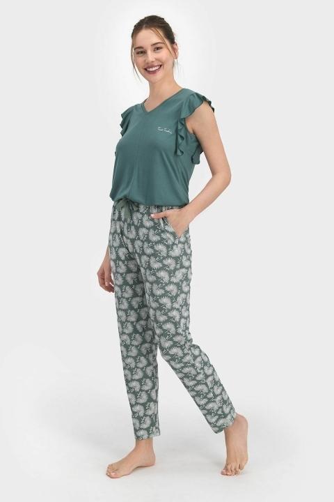 PİERRE CARDİN - Pierre Cardin Pollen Kadın Kısa Kol Pijama Takımı Çam Yeşili PC7759