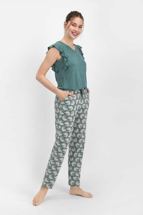 Pierre Cardin Pollen Kadın Kısa Kol Pijama Takımı Çam Yeşili PC7759 - Thumbnail
