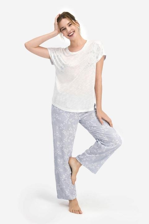 PİERRE CARDİN - Pierre Cardin Flowering Kadın Kısa Kol Pijama Takımı Krem PC7764