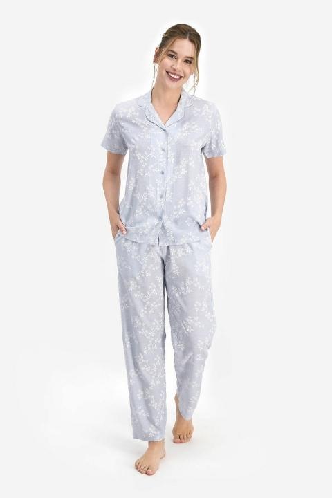 PİERRE CARDİN - Pierre Cardin Flowering Kadın Kısa Kol Pijama Takımı Açık İndigo PC7765