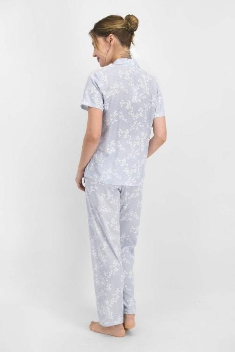 Pierre Cardin Flowering Kadın Kısa Kol Pijama Takımı Açık İndigo PC7765 - Thumbnail