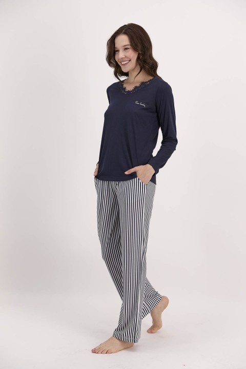 PİERRE CARDİN - Çizgili Lacivert Kadın Pijama Takımı-PC8040