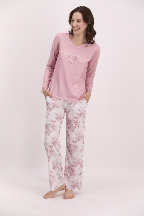 PİERRE CARDİN - You Just Need Sunshine Açık Gül Kurusu Kadın Pijama Takımı-PC8079