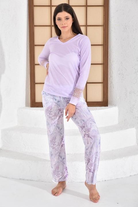 PİERRE CARDİN - Geniş Paçalı Pijama Takımı Açık Lila-PC8089