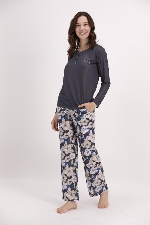 PİERRE CARDİN - Çiçek Desenli Lacivert Kadın Düğmeli Pijama Takımı-PC8119