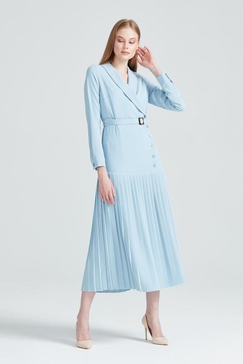 KAYRA - Pilise Detaylı Düğme Aksesuarlı Elbise-Mavi