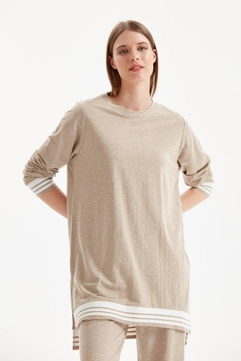 On Fashion - Ribanalı Sıfır Yaka Tunik-Kum