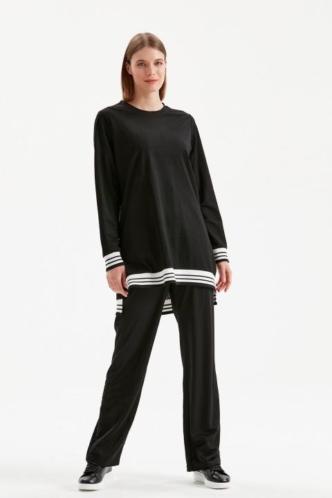 On Fashion - Ribanalı Sıfır Yaka Tunik-Siyah