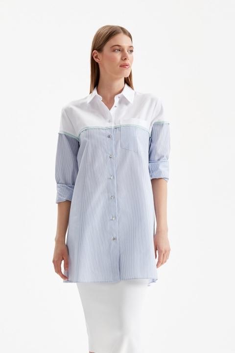 DOQUE - Robadan Çizgili Gömlek Tunik-Mavi