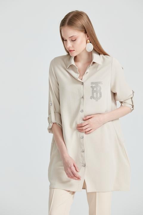 On Fashion - Taş Baskılı ve Taş Düğmeli Tunik-Kum