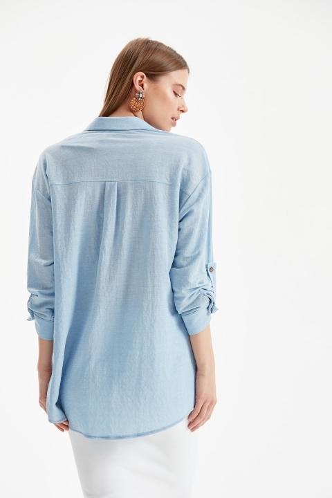 Tek Cepli Rahat Kalıp Gömlek-Mavi - Thumbnail