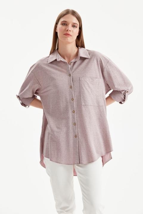 On Fashion - Tek Cepli Rahat Kalıp Gömlek-Rose