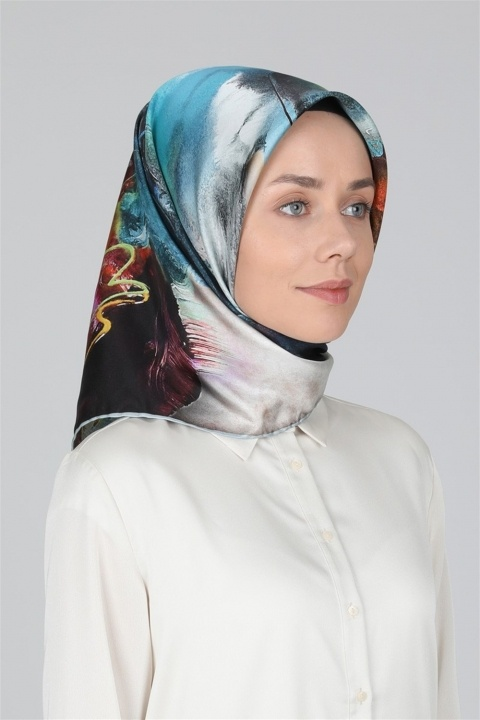 LEVİDOR - Twill İpek Eşarp 0102833 Mavi