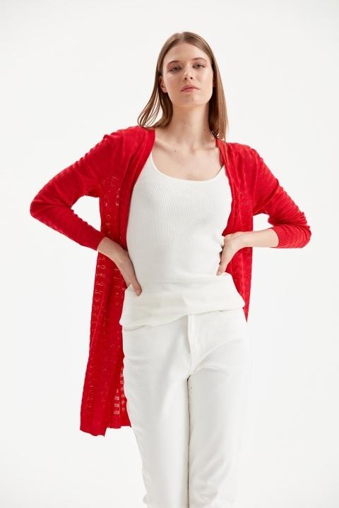 On Fashion - Uzun Ajurlu Hırka-Kırmızı