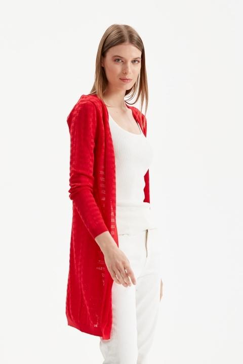Uzun Ajurlu Hırka-Kırmızı