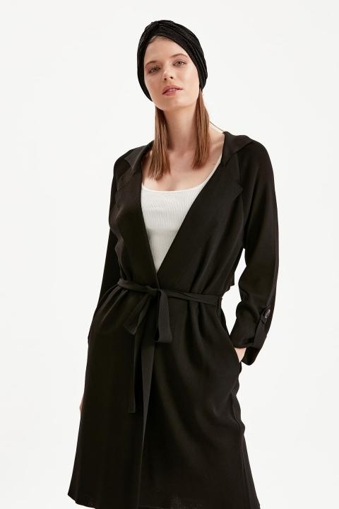 On Fashion - Beli Kuşaklı Uzun Hırka-Siyah