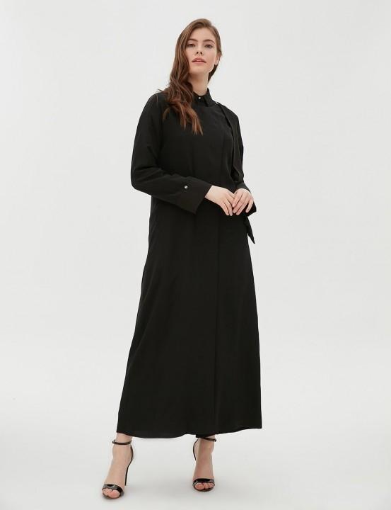 KAYRA - Yakası Kuşak Detaylı Giy-Çık-Siyah