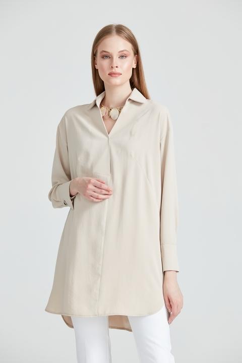 On Fashion - Yarım V Gömlek Yaka Yanı Yırtmaçlı Tunik-Kum