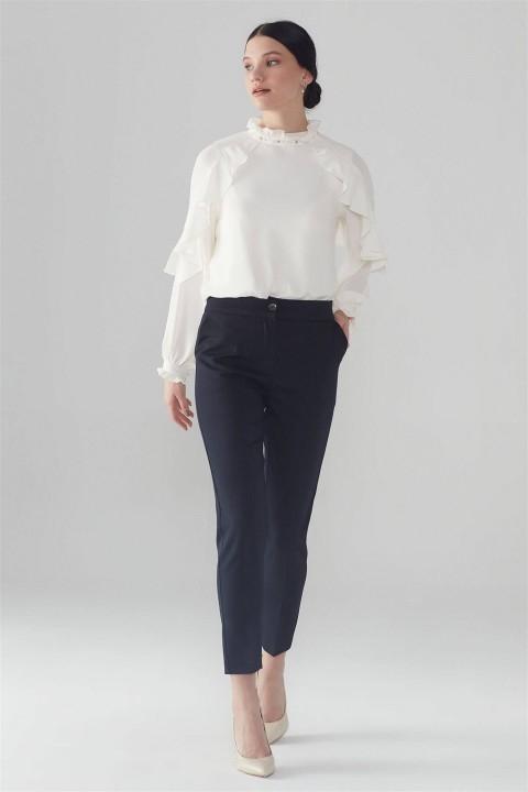 Zühre - ZÜHRE Bel Lastik Detaylı Lacivert Pantolon P-0105