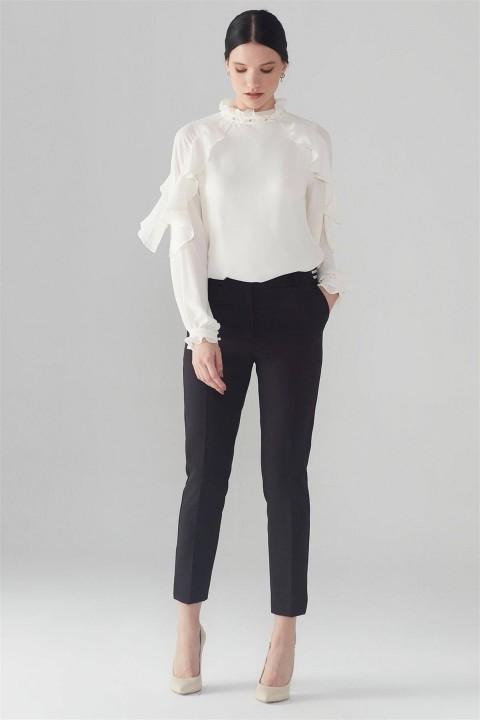 Zühre - ZÜHRE Bel Lastik Detaylı Siyah Pantolon P-0105-