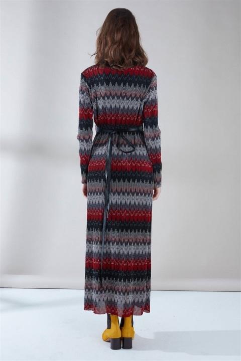 ZÜHRE Deri Kemer Detaylı Elbise Bordo E-0096 - Thumbnail