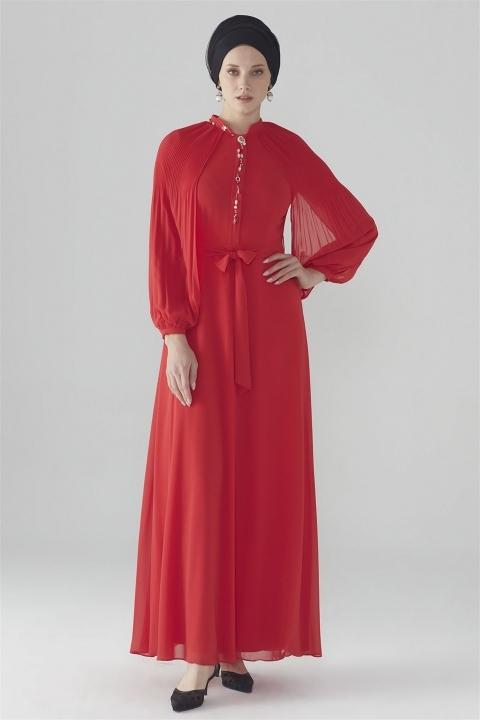 ZÜHRE - ZÜHRE Kol Volan Detaylı Elbise Kırmızı E-0108